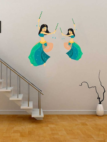 Rawpockets Wall Decals ' Garba Dancing Wall Sticker '  Wall stickers (PVC Vinyl) Multicolour - 15733313 - Standard Image - 1