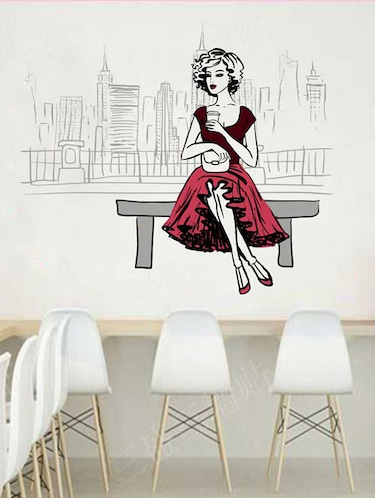 Rawpockets Wall Decals ' City n Girl Wall Sticker '  Wall stickers (PVC Vinyl) Multicolour - 15733328 - Standard Image - 1