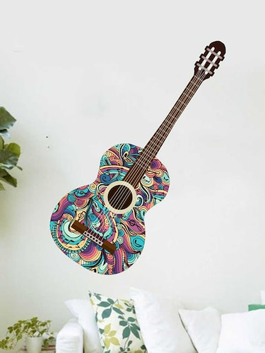 Rawpockets Wall Decals ' Stylish Guitar Wall Sticker '  Wall stickers (PVC Vinyl) Multicolour - 15733330 - Standard Image - 1