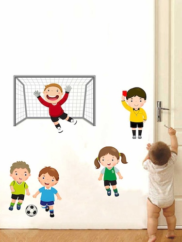 Rawpockets Wall Decals ' Kids Play Football Wall Sticker '  Wall stickers (PVC Vinyl) Multicolour - 15733363 - Standard Image - 1