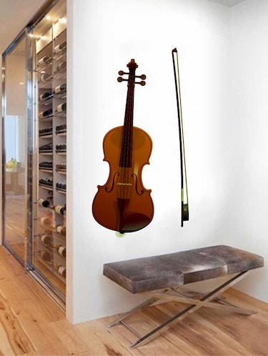 Rawpockets Wall Decals ' Violin Wall Sticker '  Wall stickers (PVC Vinyl) Multicolour - 15733370 - Standard Image - 1