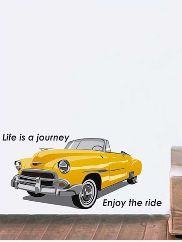Rawpockets Wall Decals ' Vintage Car Quote Wall Sticker '  Wall stickers (PVC Vinyl) Multicolour - 15733375 - Standard Image - 1