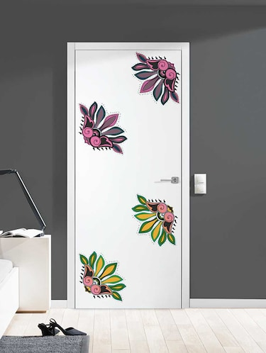 Rawpockets Wall Decals ' Decorative Flowers Wall Stickers '  Wall stickers (PVC Vinyl) Multicolour - 15733381 - Standard Image - 1