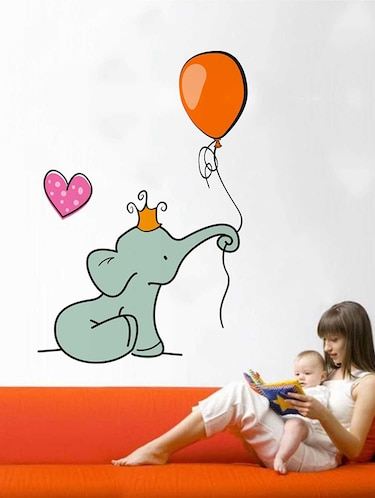 Rawpockets Wall Decals ' Baby Elephant Love Wall Sticker '  Wall stickers (PVC Vinyl) Multicolour - 15733382 - Standard Image - 1