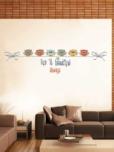 Rawpockets Wall Decals ' Life is a beautiful Quote n Bird Wall Sticker '  Wall stickers (PVC Vinyl) Multicolour - 15733388 - Standard Image - 1