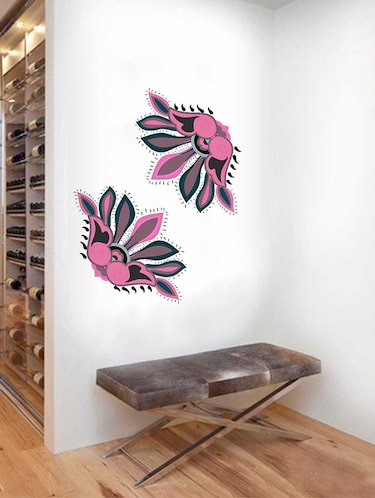 Rawpockets Wall Decals ' Border Decorative Pink Flower Wall Sticker '  Wall stickers (PVC Vinyl) Multicolour - 15733392 - Standard Image - 1