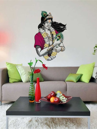 Rawpockets Wall Decals ' Sri Krishna with Peacock Petals Wall Decal Sticker '  Wall stickers (PVC Vinyl) Multicolour - 15733414 - Standard Image - 1