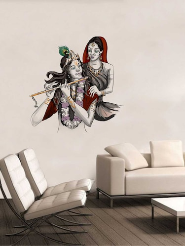 Rawpockets Wall Decals ' Lord Krishna with Radha Wall Decal Sticker '  Wall stickers (PVC Vinyl) Multicolour - 15733415 - Standard Image - 1