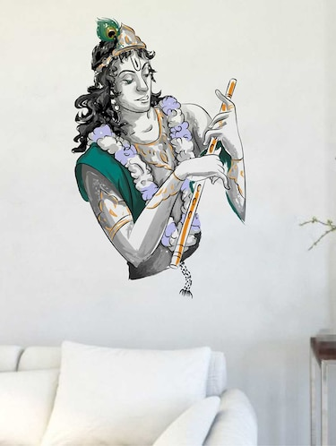 Rawpockets Wall Decals ' Sri Krishna with Flute Wall Decal Sticker '  Wall stickers (PVC Vinyl) Multicolour - 15733416 - Standard Image - 1