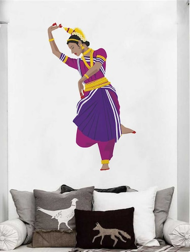 Rawpockets Wall Decals ' Odisi Dance Wall Decal Sticker '  Wall stickers (PVC Vinyl) Multicolour - 15733422 - Standard Image - 1