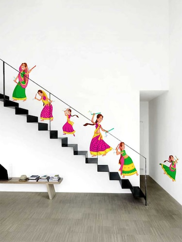 Rawpockets Wall Decals ' Girls Playing Dandiya Wall Decal Sticker '  Wall stickers (PVC Vinyl) Multicolour - 15733423 - Standard Image - 1