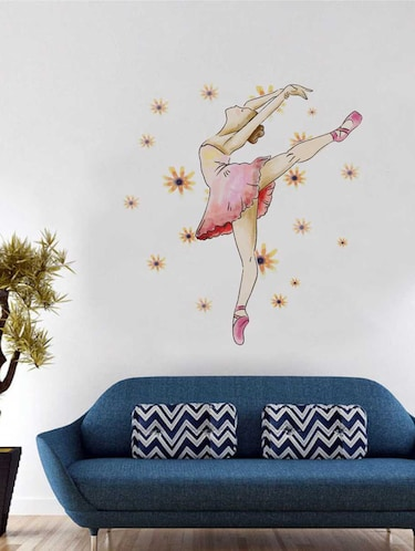 Rawpockets Wall Decals '  Ballerina Dance ' Wall Decal Sticker '  Wall stickers (PVC Vinyl) Multicolour - 15733435 - Standard Image - 1