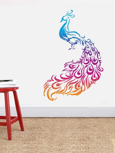 Rawpockets Wall Decals ' Crayon Peacock' Wall Decal Sticker '  Wall stickers (PVC Vinyl) Multicolour - 15733441 - Standard Image - 1