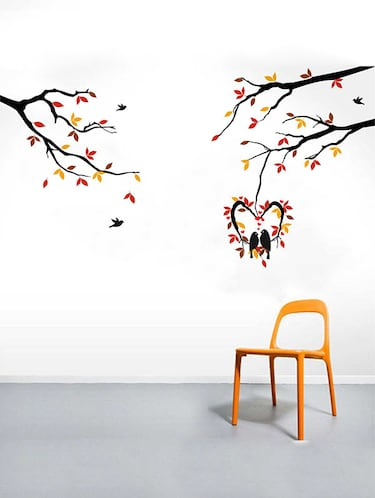 Rawpockets Wall Decals ' Love Birds on Hanging Heart-in Shape Tree' Wall Decal Sticker '  Wall stickers (PVC Vinyl) Multicolour - 15733448 - Standard Image - 1