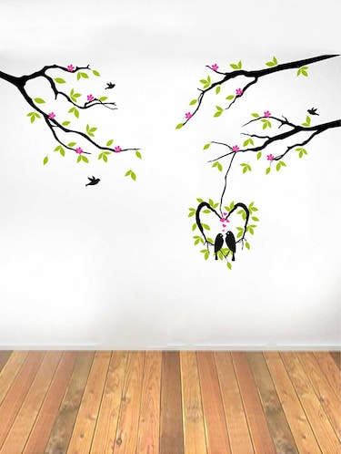 Rawpockets Wall Decals ' Love Birds on Pink Flower Tree' Wall Decal Sticker '  Wall stickers (PVC Vinyl) Multicolour - 15733449 - Standard Image - 1