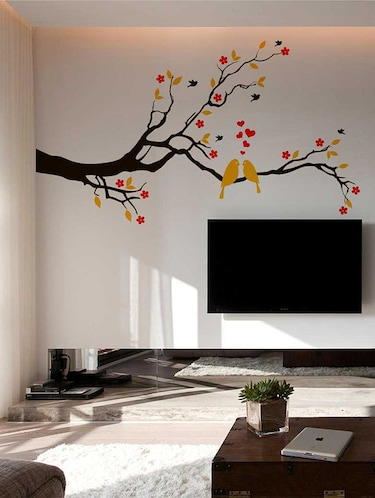 Rawpockets Wall Decals ' Red Flower and Love Birds' Wall Decal Sticker '  Wall stickers (PVC Vinyl) Multicolour - 15733451 - Standard Image - 1