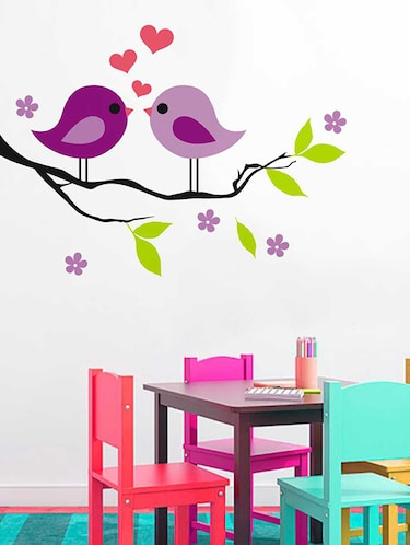Rawpockets Wall Decals ' Purplish Love Birds on Violet Flower Tree' Wall Decal Sticker '  Wall stickers (PVC Vinyl) Multicolour - 15733454 - Standard Image - 1