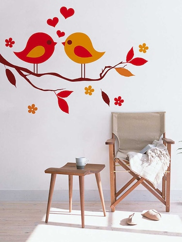 Rawpockets Wall Decals ' Red Love Birds on Violet Flower Tree' Wall Decal Sticker '  Wall stickers (PVC Vinyl) Multicolour - 15733455 - Standard Image - 1