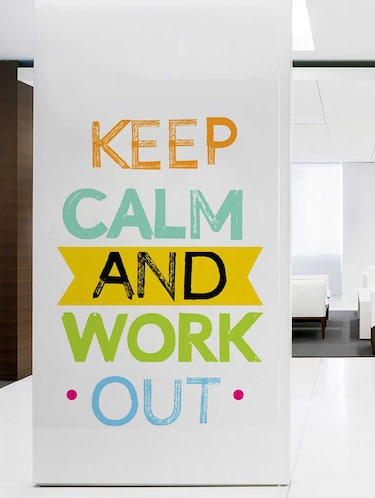 Rawpockets Wall Decals ' Keep Calm and Work Out Wall Decal Sticker '  Wall stickers (PVC Vinyl) Multicolour - 15733464 - Standard Image - 1