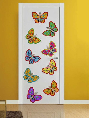 Rawpockets Wall Decals ' Colourful Butterflies Wall Decal Sticker '  Wall stickers (PVC Vinyl) Multicolour - 15733466 - Standard Image - 1