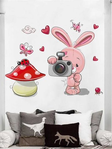 Rawpockets Wall Decals ' Rabbit and Camera' Wall Decal Sticker '  Wall stickers (PVC Vinyl) Multicolour - 15733476 - Standard Image - 1