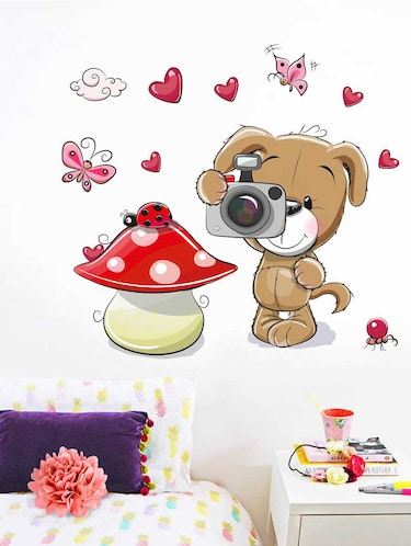 Rawpockets Wall Decals ' Dog and Camera' Wall Decal Sticker '  Wall stickers (PVC Vinyl) Multicolour - 15733479 - Standard Image - 1