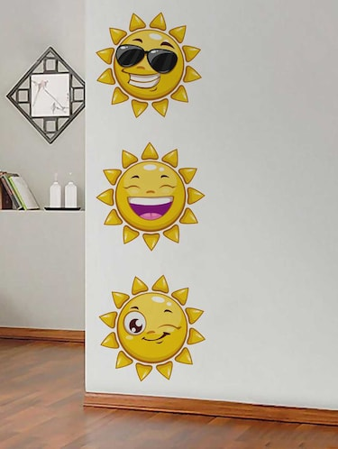 Rawpockets Wall Decals ' Sun Smileys' Wall Decal Sticker '  Wall stickers (PVC Vinyl) Multicolour - 15733481 - Standard Image - 1