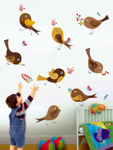 Rawpockets Wall Decals ' Cute Bird and Its Action' Wall Decal Sticker '  Wall stickers (PVC Vinyl) Multicolour - 15733488 - Standard Image - 1