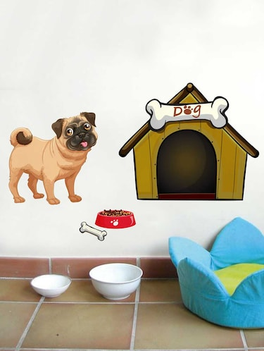 Rawpockets Wall Decals ' A Dog and A House' Wall Decal Sticker '  Wall stickers (PVC Vinyl) Multicolour - 15733492 - Standard Image - 1