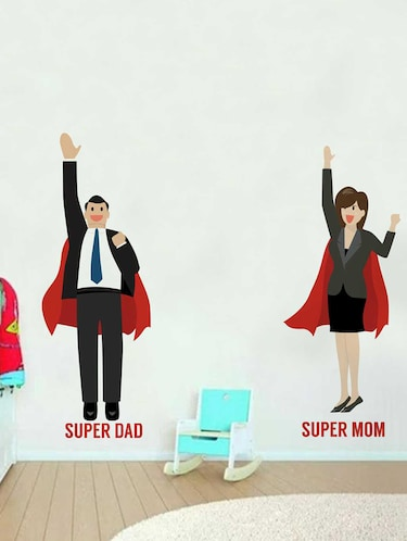 Rawpockets Wall Decals ' Super Mom & Dad' Wall Decal Sticker '  Wall stickers (PVC Vinyl) Multicolour - 15733496 - Standard Image - 1