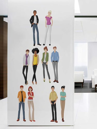 Rawpockets Wall Decals ' Different Ethnic People' Wall Decal Sticker '  Wall stickers (PVC Vinyl) Multicolour - 15733499 - Standard Image - 1