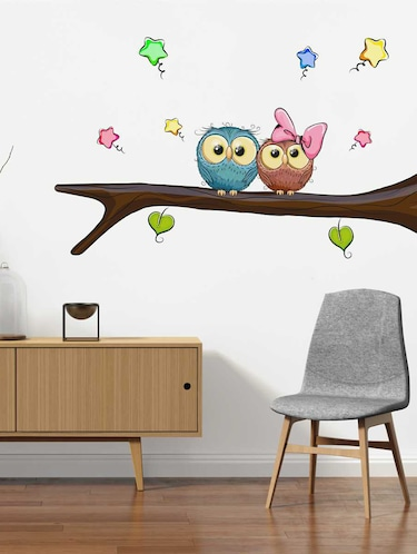 Rawpockets Wall Decals ' Owl Pair' Wall Decal Sticker '  Wall stickers (PVC Vinyl) Multicolour - 15733509 - Standard Image - 1