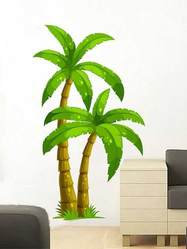 Rawpockets Wall Decals ' Palm Trees' Wall Decal Sticker '  Wall stickers (PVC Vinyl) Multicolour - 15733521 - Standard Image - 1