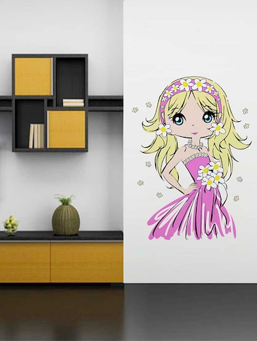 Rawpockets Wall Decals ' Cute Baby Girl' Wall Decal Sticker '  Wall stickers (PVC Vinyl) Multicolour - 15733526 - Standard Image - 1