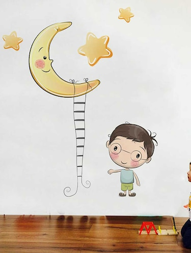 Rawpockets Wall Decals ' Moon and Boy' Wall Decal Sticker '  Wall stickers (PVC Vinyl) Multicolour - 15733535 - Standard Image - 1