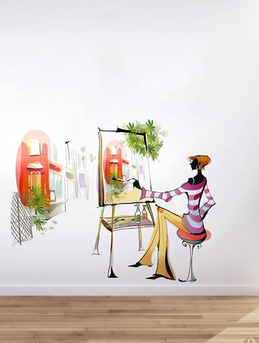 Rawpockets Wall Decals ' Girl Painting at Her Own '  Wall stickers (PVC Vinyl) Multicolour - 15733544 - Standard Image - 1