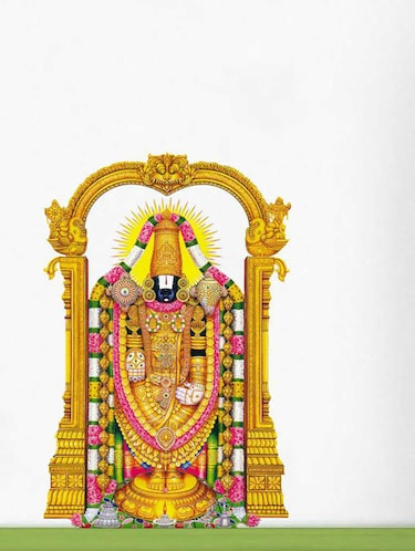 Rawpockets Wall Decals ' Lord Tirupathi Balaji '  Wall stickers (PVC Vinyl) Multicolour - 15733546 - Standard Image - 1