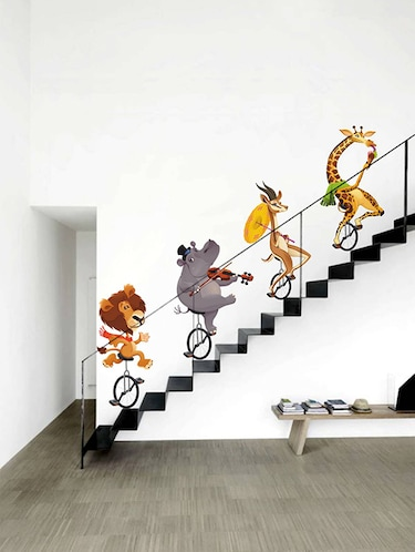 Rawpockets Wall Decals ' Wild Animals Cycling '  Wall stickers (PVC Vinyl) Multicolour - 15733553 - Standard Image - 1