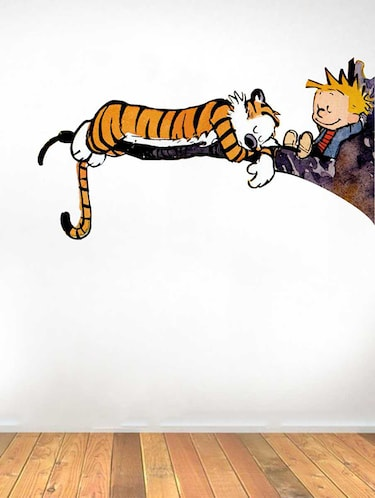 Rawpockets Wall Decals ' Calvin and Hobbes Cartoon '  Wall stickers (PVC Vinyl) Multicolour - 15733560 - Standard Image - 1