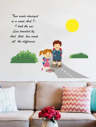 Rawpockets Wall Decals ' Two Roads Diverged in a Yellow Wood Poem '  Wall stickers (PVC Vinyl) Multicolour - 15733565 - Standard Image - 1
