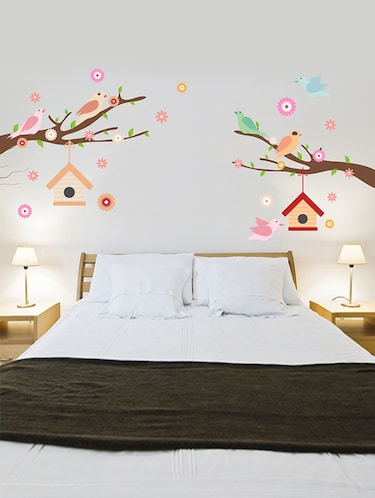 Rawpockets Wall Decals ' Birds Family n Nest Story Wall Sticker '  Wall stickers (PVC Vinyl) Multicolour - 15733578 - Standard Image - 1
