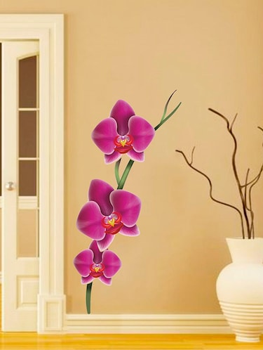 Rawpockets Wall Decals ' Purple Flower Decorative Sticker '  Wall stickers (PVC Vinyl) Multicolour - 15733583 - Standard Image - 1