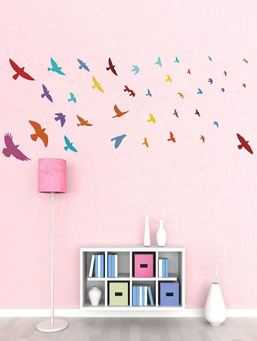 Rawpockets Wall Decals ' United Colors of Birds Wall Sticker '  Wall stickers (PVC Vinyl) Multicolour - 15733601 - Standard Image - 1