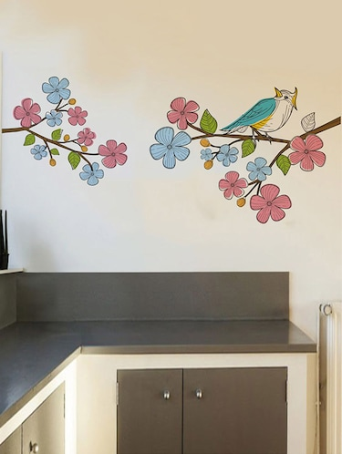 Rawpockets Wall Decals ' Multi Color Flower n Bird Wall Sticker '  Wall stickers (PVC Vinyl) Multicolour - 15733602 - Standard Image - 1