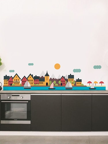Rawpockets Wall Decals ' Coastal City Wall Sticker '  Wall stickers (PVC Vinyl) Multicolour - 15733626 - Standard Image - 1
