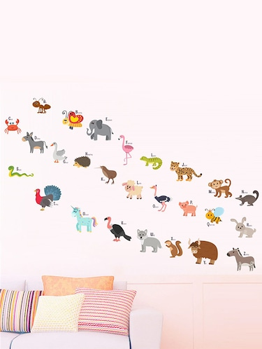 Rawpockets Wall Decals ' ABCD Cartoon Animals Wall Sticker '  Wall stickers (PVC Vinyl) Multicolour - 15733627 - Standard Image - 1
