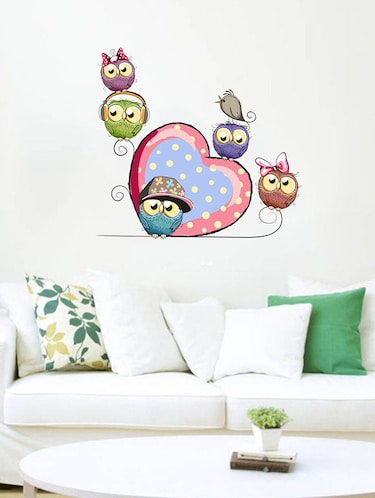 Rawpockets Wall Decals ' Cartoon Owl Family Wall Sticker '  Wall stickers (PVC Vinyl) Multicolour - 15733645 - Standard Image - 1