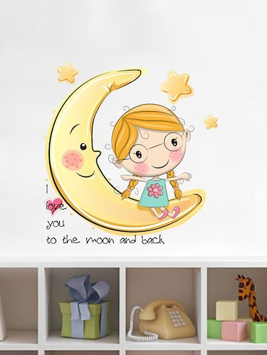 Rawpockets Wall Decals ' Moon and Back Love Wall Sticker '  Wall stickers (PVC Vinyl) Multicolour - 15733647 - Standard Image - 1