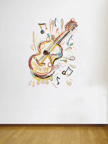 Rawpockets Wall Decals ' Guitar Musical Instrument Wall Sticker '  Wall stickers (PVC Vinyl) Multicolour - 15733649 - Standard Image - 1
