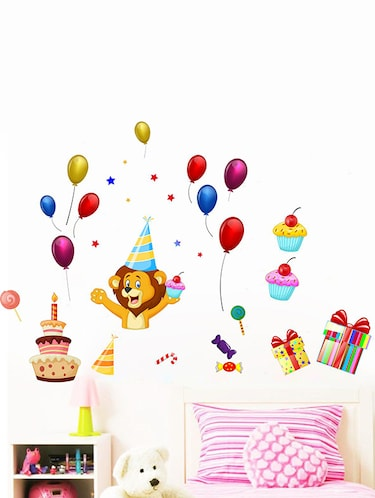 Rawpockets Wall Decals ' Lion and Celebrations Wall Sticker '  Wall stickers (PVC Vinyl) Multicolour - 15733657 - Standard Image - 1
